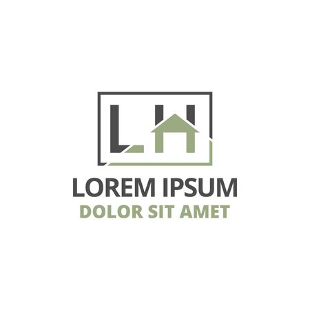 vector illustration initial letter l and h with roof icon logo construction design solid color Illustration