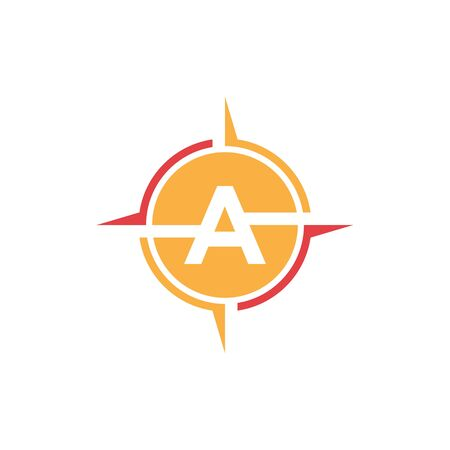 vector illustration compass with circle negative space letter a icon logo design