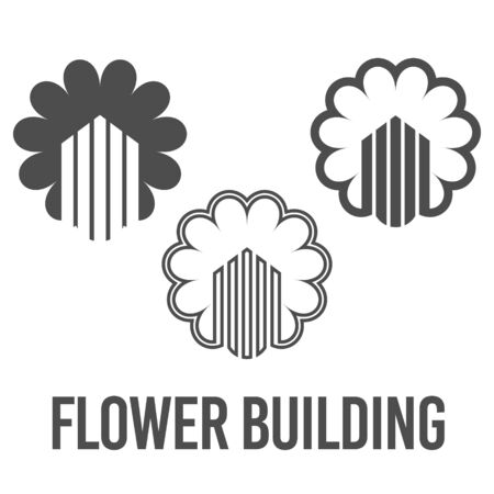 set abstract vector illustration flower building icon logo construction black color Çizim