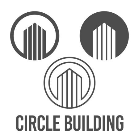 set abstract vector illustration circle building icon logo construction black color