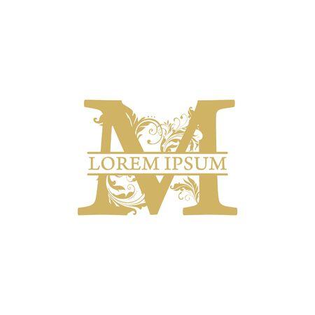 vector Initial m letter luxury beauty flourishes ornament monogram wedding icon logo vintage Vettoriali