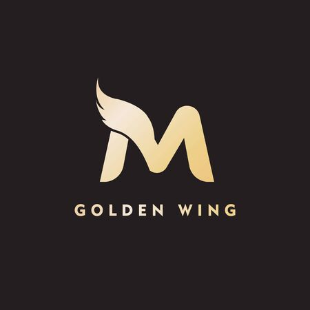 vector initial letter m business wing logo icon corporate technology concept gold color