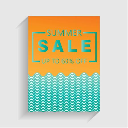 summer sale flayer design with wave