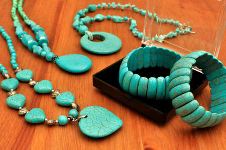 Turquoise Stone Bangle and Necklace in the jewelry box. Natural Stones Stok Fotoğraf