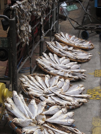 Dried fish at the Asian Hong Kong market Stock Photo - 13666142