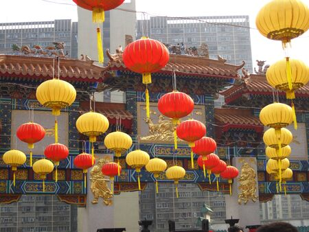 Chinese Paper Lanterns in front of a temple photo