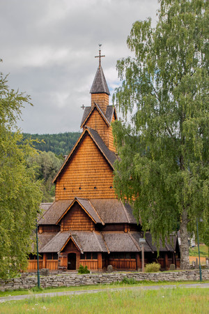 stave: Heddal Stave Church in Norway Stock Photo