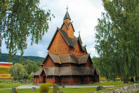 craftmanship: Heddal Stave Church in Norway Stock Photo