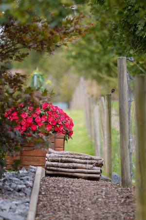 billet: Red flowerd with Fence and wood billet bundle