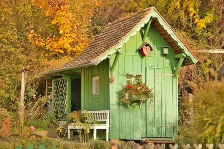 Green Wooden Garden House Stock Photo