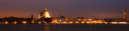 Panorama By Night Of Venice, City In Italy Stock Photo