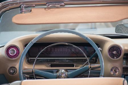 shiny car: Los Angeles, USA - January 2017. Inside of an old blue cadillac eldorado
