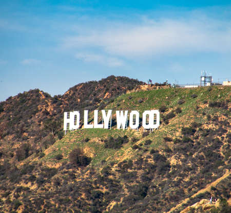 originate: HOLLYWOODCALIFORNIA - JANUARY 2017. Hollywood Sign. World famous landmark and American cultural icon on Mount Lee in Hollywood Hills.