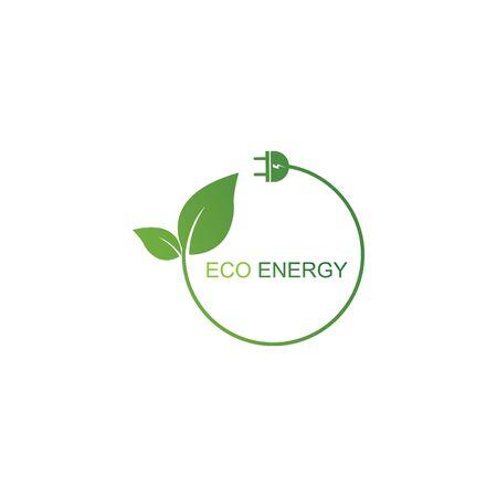 Eco energy logo template vector icon illustration design