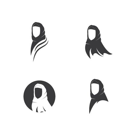 Muslimah hijab Logo template vector illustration design