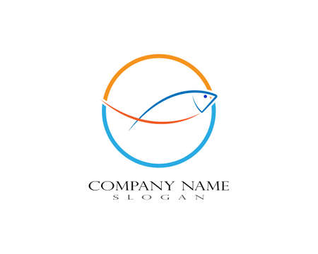 Fish logo template. Creative vector symbol of fishing club or online Illustration