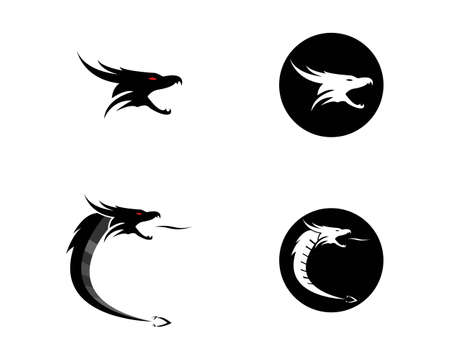 Dragon flat color logo template vector illustration