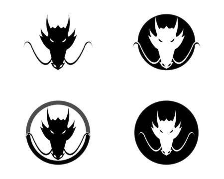Head dragon flat color logo template vector illustration Çizim