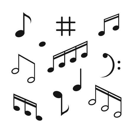 Musical design element,music notes,symbols,vector illustration. - Vector Ilustración de vector