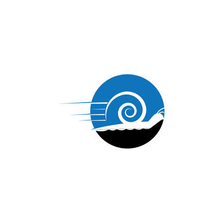 Speed snail logo template vector. Fast snail logo concept. Animal logo with speed Vettoriali