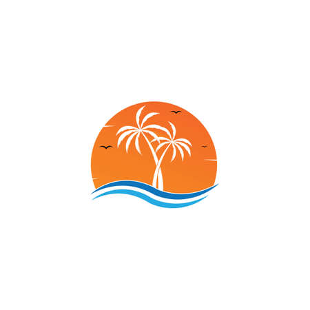 sunset logo icon vector template