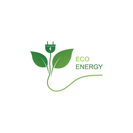 Eco energy logo template vector icon illustration design