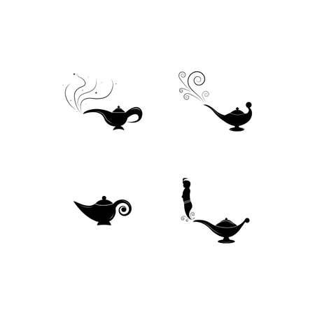 Magic lamp logo vector illustration design Illustration
