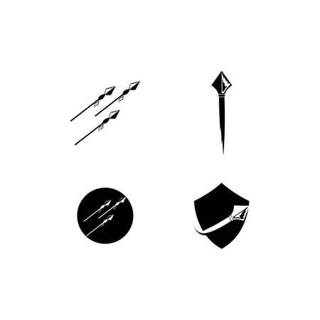 Spear logo vector icon illustration template design Vectores