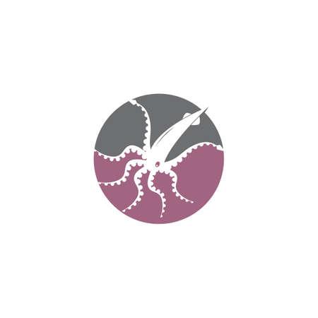 Squid logo. Isolated squid on white background