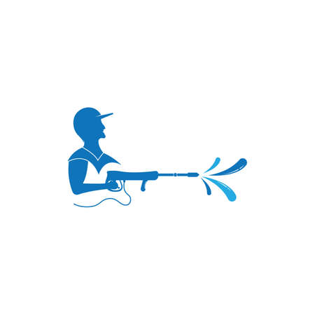 Pressure washing logo template. Cleaning vector design. Logo
