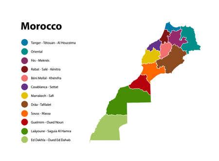 Marruecos mapa vectorial, nuevas regiones Resultado