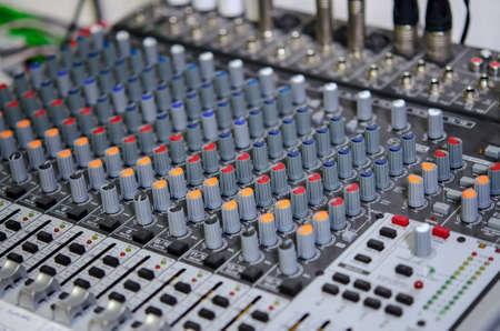 Foto van de audio mix teller Stockfoto