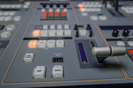 Photo of the Video and audio Control Mixing Desk, Television Broadcasting Imagens