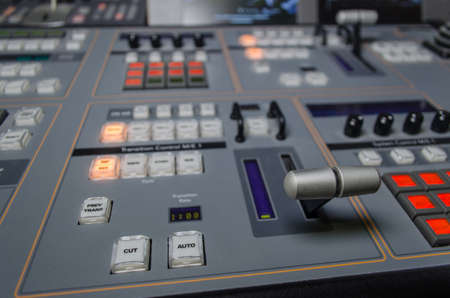 Photo of the Video and audio Control Mixing Desk, Television Broadcasting Banco de Imagens - 83383202