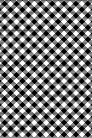 Black Gingham pattern. Texture from rhombus/squares for - plaid, tablecloths, clothes, shirts, dresses, paper, bedding, blankets, quilts and other textile products. Vector illustration. Vecteurs