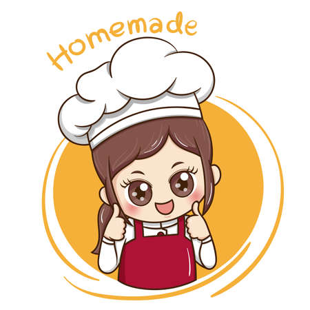 Illustrator of Female Chef cartoon Çizim