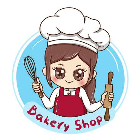 Illustrator van vrouwelijke chef-kok cartoon