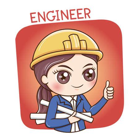 Illustrator of Female Engineer cartoon Illustration