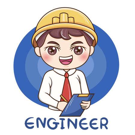 Illustrateur de dessin animé ingénieur masculin Vecteurs