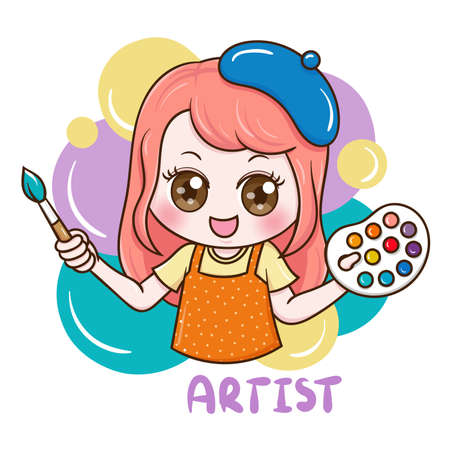 Illustration of cartoon character female artist Ilustração