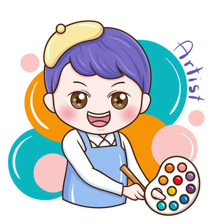 Illustration of cartoon character male artist