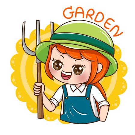 Illustration of cartoon character female gardener Vettoriali