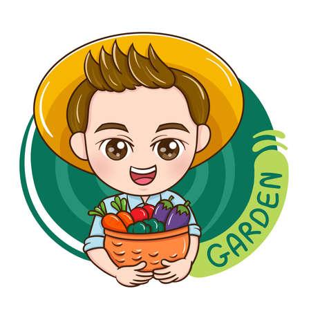 Illustration of cartoon character male garden Vettoriali