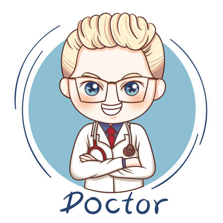 Illustration of cartoon character male doctor