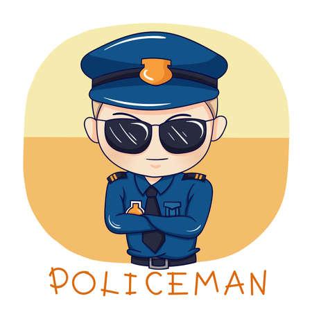 Illustration of cartoon character policeman Vettoriali
