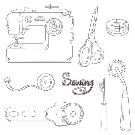 Illustration of lined design sewing equipment