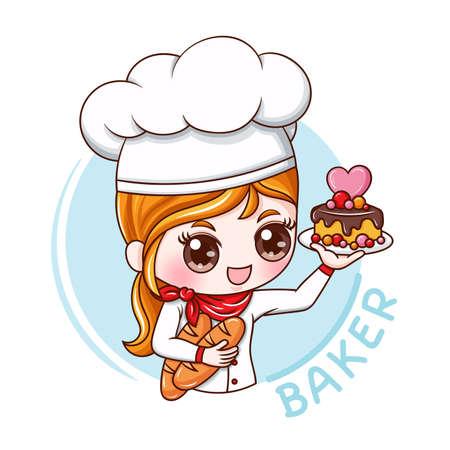 Illustratie van stripfiguur vrouwelijke bakker Vector Illustratie