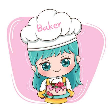 Ilustracja kreskówka postać kobiecego piekarza