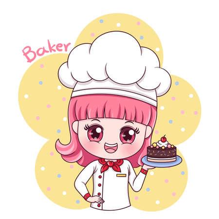 Illustration du personnage de dessin animé femme boulanger
