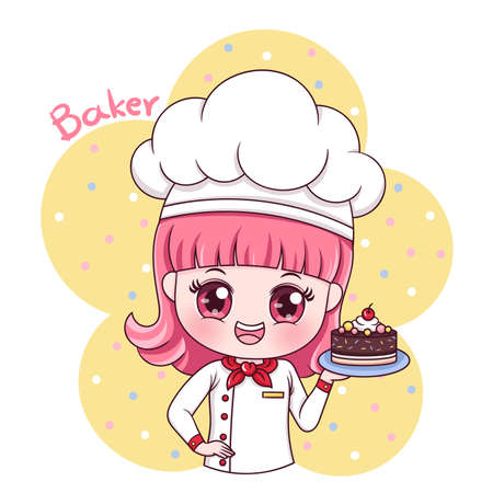 Illustration of cartoon character female baker Stock fotó - 120810734